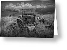 Old Truck Abandoned In The Grass In Black And White At The Ghost Town By Okaton South Dakota Greeting Card