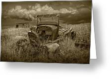 Old Truck Abandoned In The Grass In Sepia Tone Greeting Card