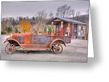 Old Truck And Gas Filling Station Greeting Card