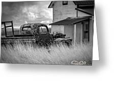 Old Truck At Farmhouse Greeting Card by William Havle