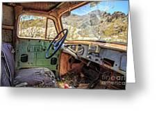 Old Truck Interior Nevada Desert Greeting Card by Edward Fielding