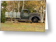 Old Truck With Potato Barrels Greeting Card