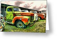 Old Trucks In A Row Greeting Card