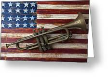 Old Trumpet On American Flag Greeting Card