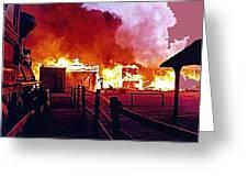 Old Tucson Arizona In Flames 1995  Greeting Card