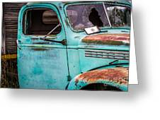 Old Turquoise Truck Greeting Card