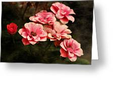 Old Victorian Fuchsia Pink Rose Greeting Card