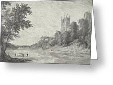 Old View Of Durham Cathedral Greeting Card