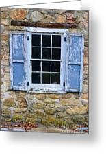 Old Village Window With Blue Shutters Greeting Card