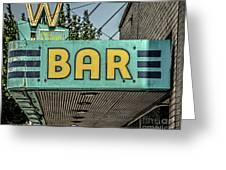 Old Vintage Bar Neon Sign Livingston Montana Greeting Card