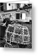 Old Vintage Hand Made Rope Lobster Pot Used In Fishing Industry Greeting Card