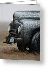 Old Vintage Truck In Winter Storm Saskatchewan Greeting Card