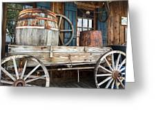 Old Wagon And Barrell Greeting Card