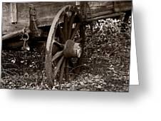 Old Wagon Wheel Greeting Card