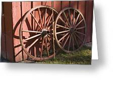 Old Wagon Wheels Greeting Card