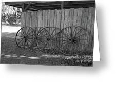 Old Wagon Wheels Black And White Greeting Card