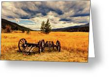 Old Wagons In Meadow Greeting Card