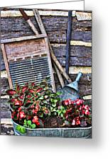 Old Wash Tub With Plants Greeting Card