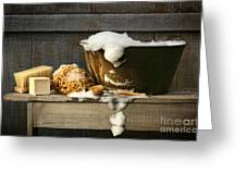 Old Wash Tub With Soap On Bench Greeting Card by Sandra Cunningham