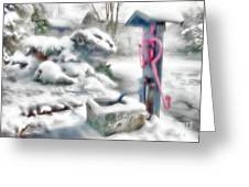 Old Water Pump In Winter Greeting Card