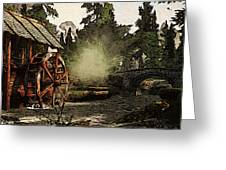 Old Watermill In The Forest Greeting Card