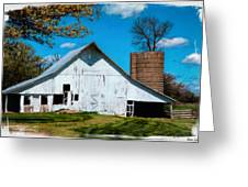 Old White Barn With Treed Silo Greeting Card