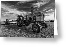 Old White Tractor In The Field Greeting Card