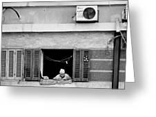 Old Woman In Window  Greeting Card