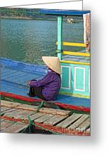 Old Woman On A Colorful River Boat Greeting Card