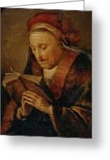 Old Woman Praying Greeting Card