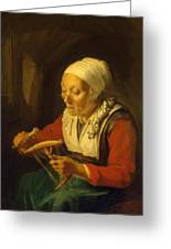Old Woman Unreeling Threads 1665 Greeting Card