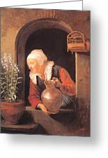 Old Woman Watering Flowers 1665 Greeting Card
