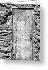 Old Wood Door  And Stone - Vertical Bw Greeting Card