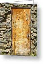 Old Wood Door And Stone - Vertical  Greeting Card