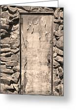 Old Wood Door  And Stone - Vertical Sepia Bw Greeting Card