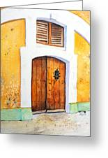Old Wood Door Arch And Shutters Greeting Card
