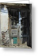 Old Wood Door In A Wall Greeting Card