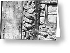 Old Wood Door Window And Stone In Black And White Greeting Card