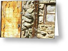 Old Wood Door Window And Stone Greeting Card