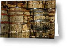 Old Wood Whiskey Barrels Greeting Card