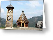 Old Wooden Church And Bell Tower Greeting Card