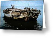 Old Wooden Fishing Boat Greeting Card