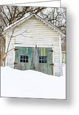 Old Wooden Garage In The Snow Woodstock Vermont Greeting Card