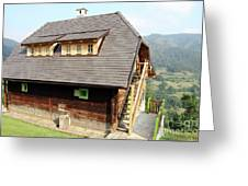 Old Wooden House On Mountain Greeting Card