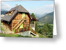 Old Wooden House On Mountain Landscape Greeting Card