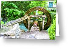 Old Wooden Water Wheel  Greeting Card