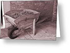 Old Wooden Wheelbarrow Greeting Card