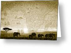 Old World Africa Antique Sunset Greeting Card