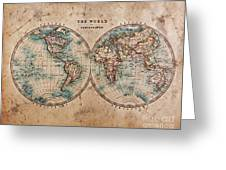 Old World Map In Hemispheres Greeting Card