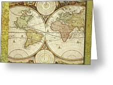 Old World Map On Gold Greeting Card